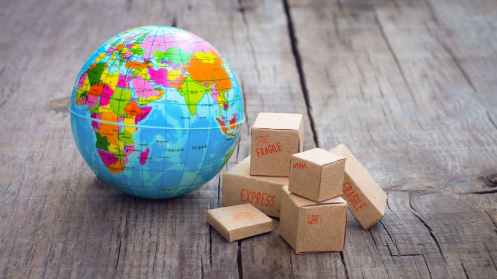 Toy globe and toy packages, import concept