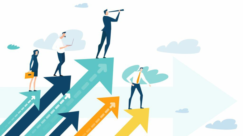 successful businesspeople standing on arrows graphic, top entrepreneurs concept