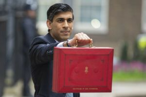 Rishi Sunak holding up red box, Budget 2021 small business concept