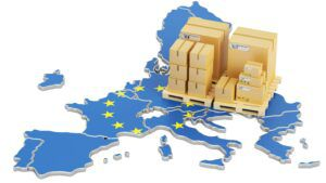 3D illustration of European Union footprint with toy packing crates, import EU concept