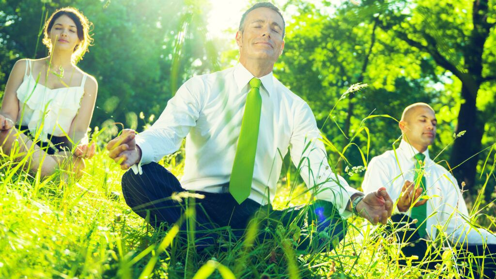 Office workers sitting cross-legged in field meditating, green concept